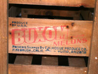 1940s-50s BUXOM MELONS Wood CRATE BOX Rare Full Size MAN CAVE