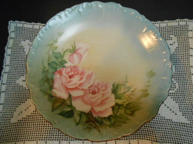 Antique Cabinet Plate Pink Hand Painted Roses Victorian Artist Signed Porcelain