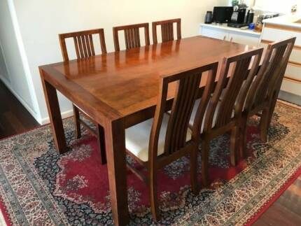 Almost New Hardwood Dining Table And 6 Chairs