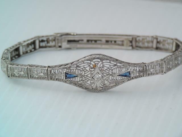ART DECO ESEMCO STERLING SILVER FILIGREE DIAMOND & BLUE SAPPHIRE BRACELET