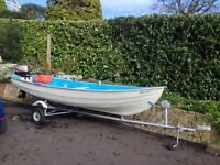 Open fishing boat. 4.25 m GRP with 6hp Mariner 4 stroke and trailer