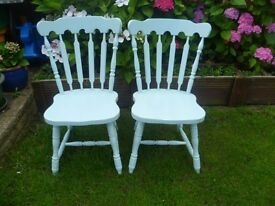2 x Shabby Chic DUCK EGG Wooden Farmhouse Chairs up-cycled in chalk paint