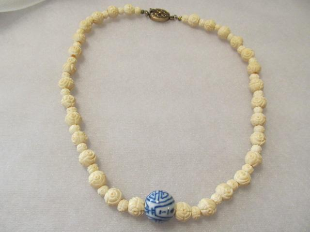 Vintage Chinese Chinese Cobalt Blue-White Character Bead Necklace With