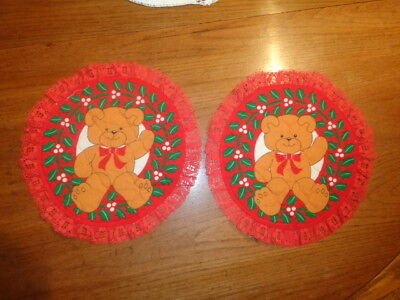 """Christmas Teddy Bear Doily 2 VTG 11"""" round quilted fabric red lace table decor, used for sale  Largo"""