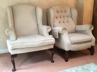 Lounge Suite - 1 Chesterfield style Arm Chair, 1 high back Arm Chair and 1 two-seater sofa