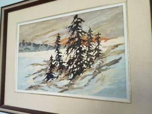 Large George Elliott Original Oil on Board Painting