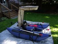 Easy to Assemble 7' Pontoon Boat w/Electric Motor & Top