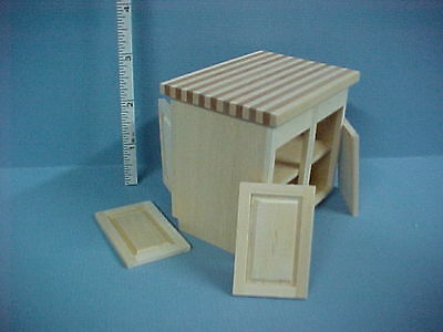 - Dollhouse Miniature Kitchen Center Island Cabinet - Unfinished  #14411