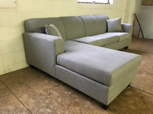 """BRAND NEW GREY FABRIC SECTIONAL 104"""" by 68"""" - $850 FREE DELIVERY"""