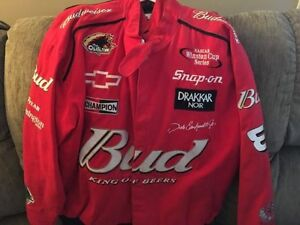 XL Budweiser Dale Earnhardt JR jacket.Autographed Mario Andretti