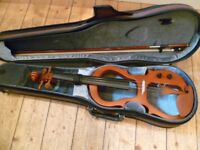electric violin with bow,case, amp etc-silet practice/amplified performance-excelelnt condition