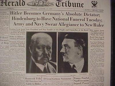 VINTAGE NEWSPAPER HEADLINE ~HINDENBURG DEAD GERMANY NAZI HITLER DICTATOR WWII~