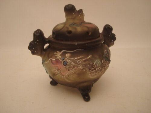 Vintage Moriage Porcelain Dragon Incense Burner, Made in Japan