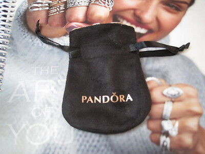 AUTHENTIC PANDORA SMALL TRAVEL BLACK SUEDE CHARM POUCH GOLD SILVER CHARMS NEW