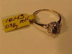 #1243-10K YELLOW GOLD SAPPHIRE/DIAMOND RING Size7-FREE SHIPPING in CANADA ONLY-ACCEPTED PAYMENT INTERAC BANK TRANSFER