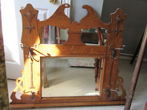 Antique Oak Hall Mirror with Brass Accents