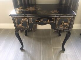 Assortment of Japanese Black and Gold Lacquered Ornamental Furniture