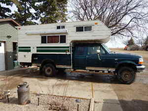 1997 ford f 250 4x4 ext cab long box and camper