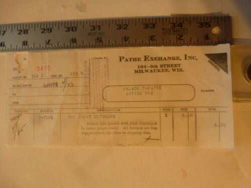 Movie Billhead Pathe Exc 4/23/1924 The Great Outdoors Frank Butler Laura Roessin