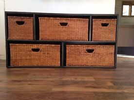 Good looking storage unit with wicker baskets, chest of drawers