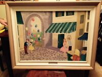 French painting by Joyce Parisian 1954 beautiful wood framing