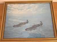 RAF Airplane Collectable WW11 Military Print – Spitfires by Ron Lackenby