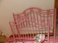 Metal Pink Heart Single bed frame with option to make into four poster bed