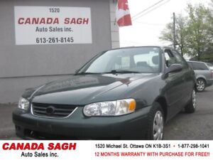 2001 Toyota Corolla, 2 SETS OF TIRES, 12 M WRTY+SAFETY $2990