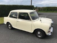 1968 Riley Elf Auto White Saloon Car with leather interior and mahogany dash, MOT'd until 26/5/19