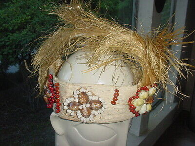 VINTAGE SOUTH PACIFIC ISLAND HEADDRESS MADE FROM TAPA SHELLS SEEDS