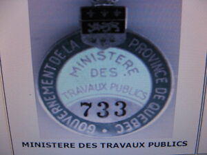BADGE DE CHAUFFEUR TAXI, CAMION /PLAQUE IMMATRICULATION