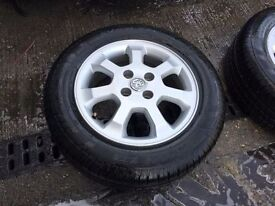 """SET OF VAUXHALL ASTRA WHEELS & TYRES, TYRES ARE BRAND NEW, 15"""""""