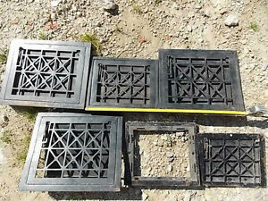 5 five HVAC ANTIQUE art deco furnace register VENT COVERS