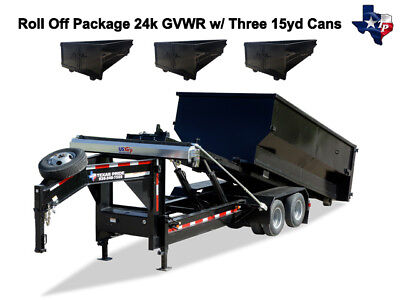 New 8 X 16 Roll Off Dump Trailer 24k Gvwr With Three 15yd Dumpsters