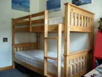 BUNK BEDS - Pine frame with mattresses.
