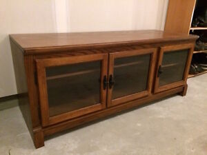 Solid Oak TV Stand with Glass Doors