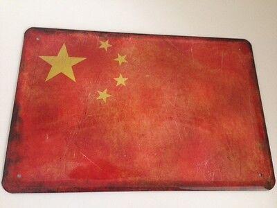 Blechschild Länder Fahne National Flagge China 20x30 cm Deko  Retro-Look 17