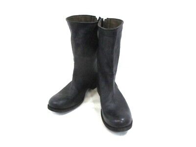 Auth ATTACHMENT Black Leather Boots Men