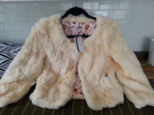 Price down!Brand new genuine rabbit fur coat and vest