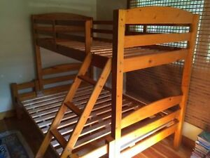 Solid Wood Bunk Bed - twin top/full bottom