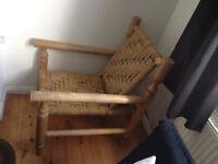 Wood and Wicker handmade arm chair