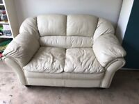 FREE for collection Cream Leather Sofa good condition