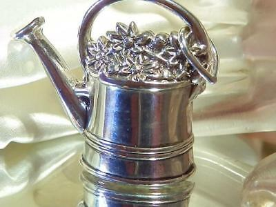 Pretty Vintage 80's Silver Plated Best Signed Planter Watering Can Brooch 280M8