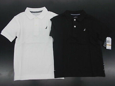 Boys Nautica $26.50 White or Black Polo Shirts Size 4 - 18 - White Teen Boys