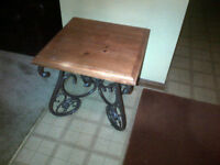 pine and wrought iron end table