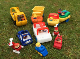 Little Tikes Vehicles including a School Bus, Dumper Truck with Weeble figures