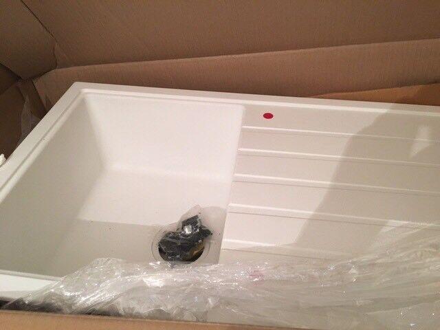 Grade B Astini Gianni White Compact 1.0 Granite Sink with waste