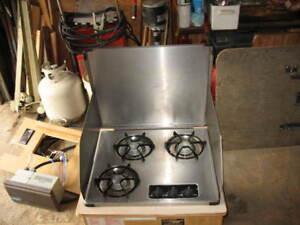 Suburban RV propane 3 burner  Stainless steel Stove top