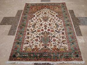 TREE OF LIFE BIRDS ORIE HAND KNOTTED RUG WOOL CARPET FB-2831 6X4
