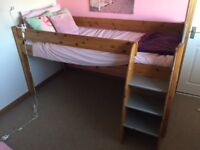 Stompa mid sleeper single bed and chest of drawers.